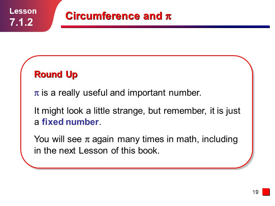 Circumference and p 7.1.2 Round Up