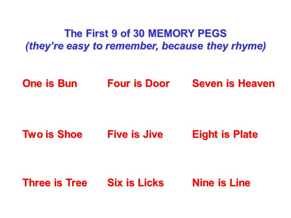 The First 9 of 30 MEMORY PEGS