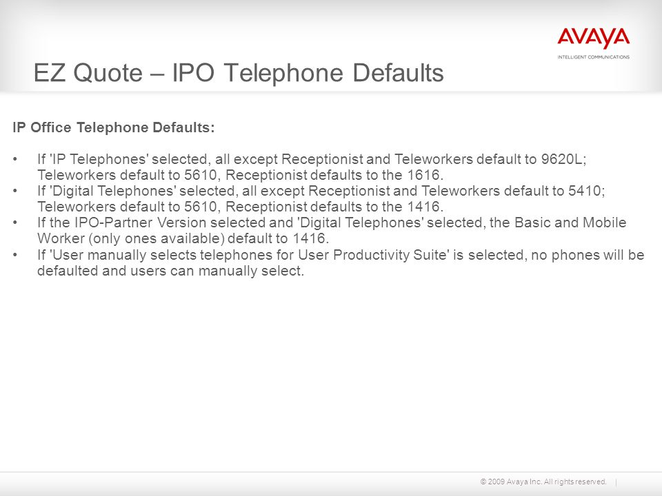 EZ Quote – IPO Telephone Defaults