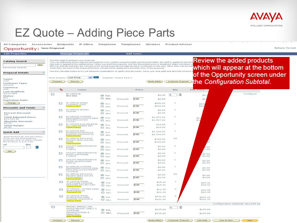 EZ Quote – Adding Piece Parts