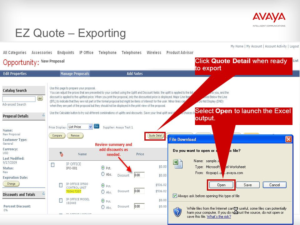 EZ Quote – Exporting Click Quote Detail when ready to export