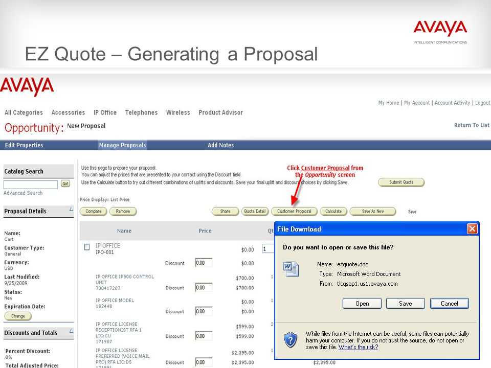 EZ Quote – Generating a Proposal