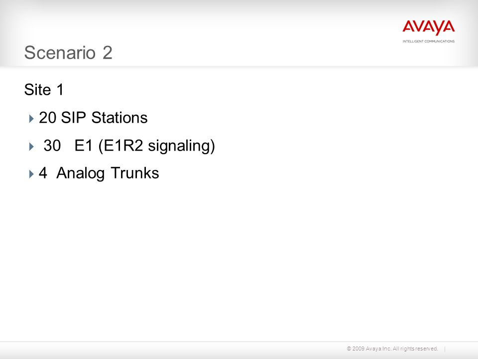 Scenario 2 Site 1 20 SIP Stations 30 E1 (E1R2 signaling)