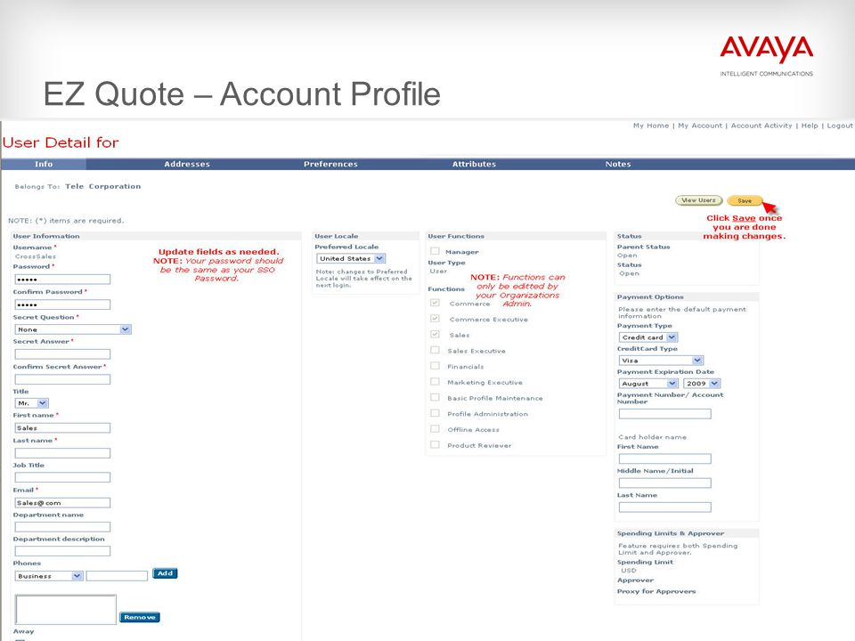 EZ Quote – Account Profile