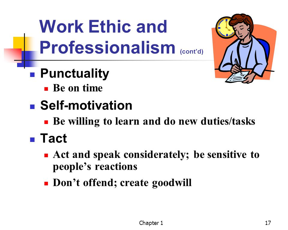 Work Ethic and Professionalism (cont'd)