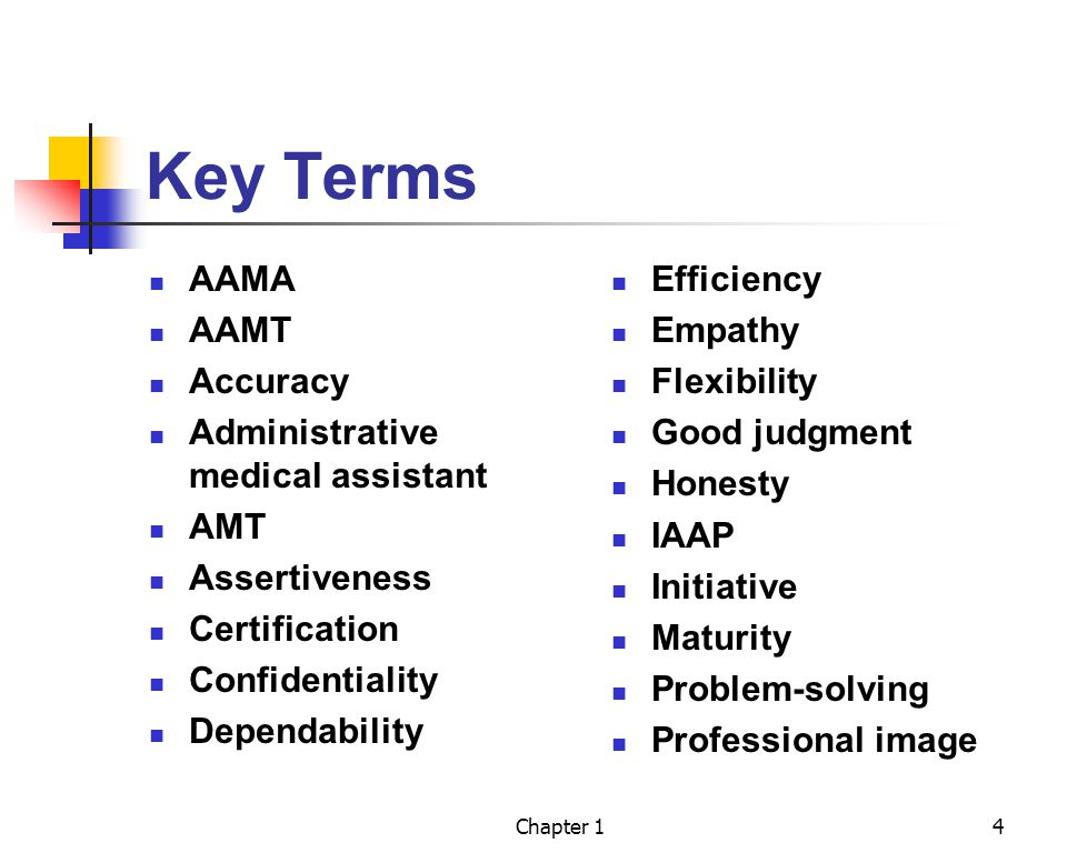 Key Terms AAMA AAMT Accuracy Administrative medical assistant AMT