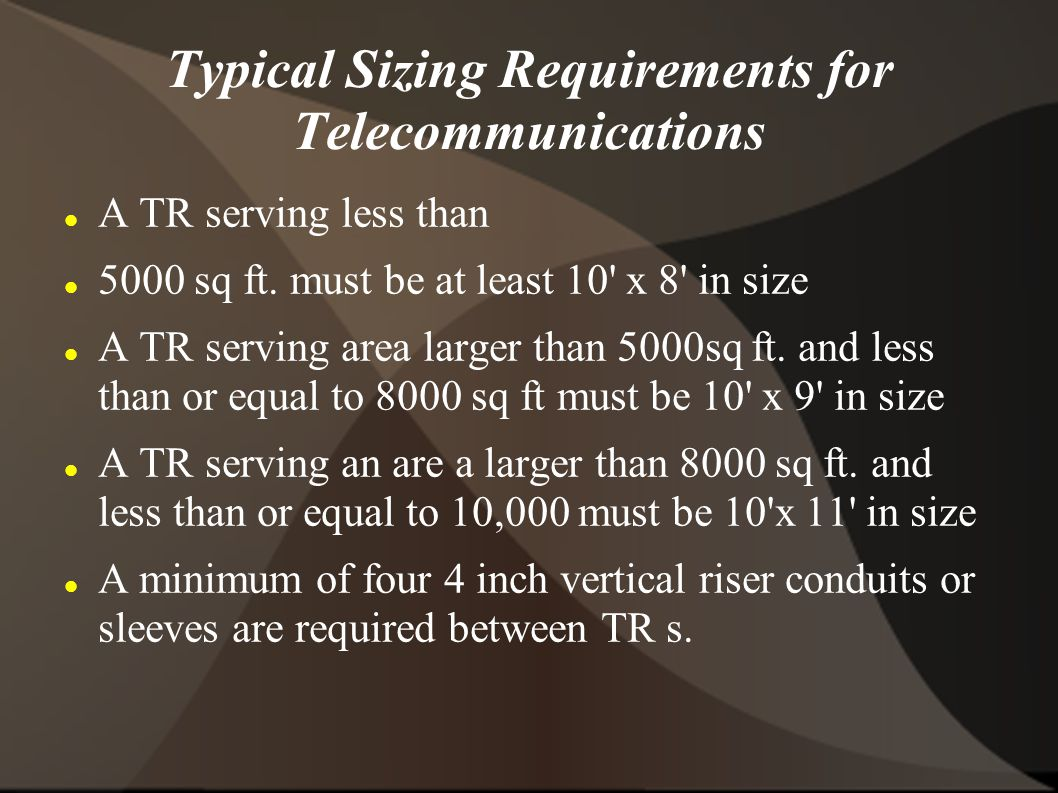 Typical Sizing Requirements for Telecommunications