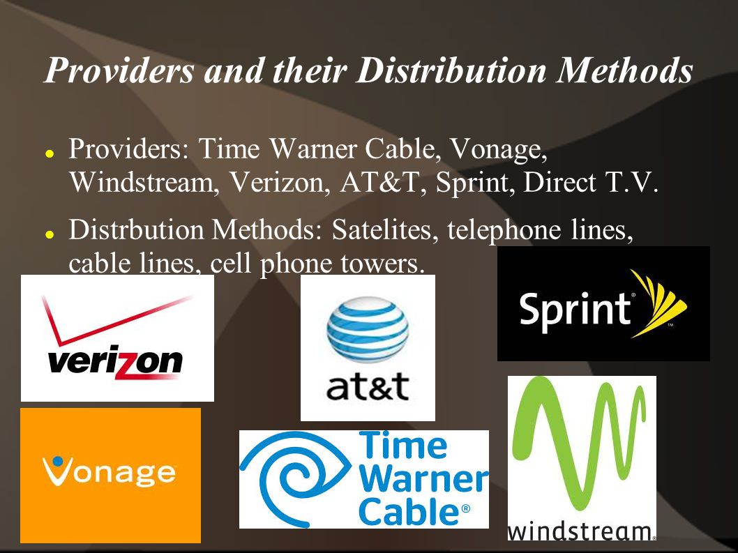 Providers and their Distribution Methods
