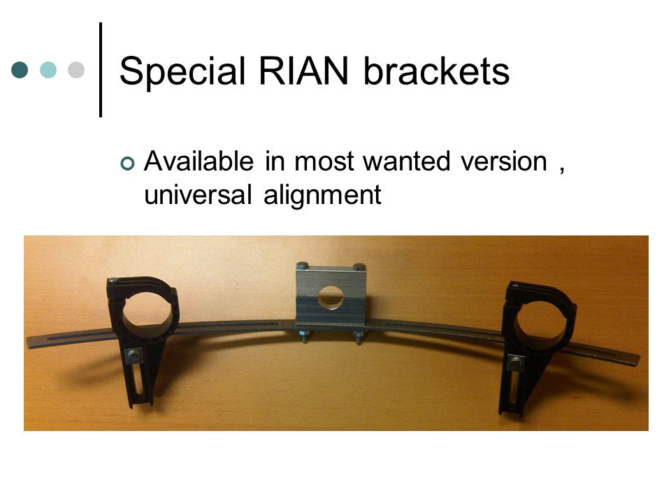 Special RIAN brackets Available in most wanted version , universal alignment
