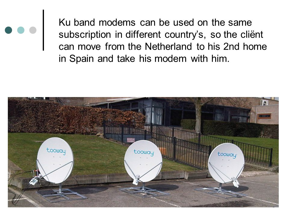 Ku band modems can be used on the same subscription in different country's, so the cliënt can move from the Netherland to his 2nd home in Spain and take his modem with him.