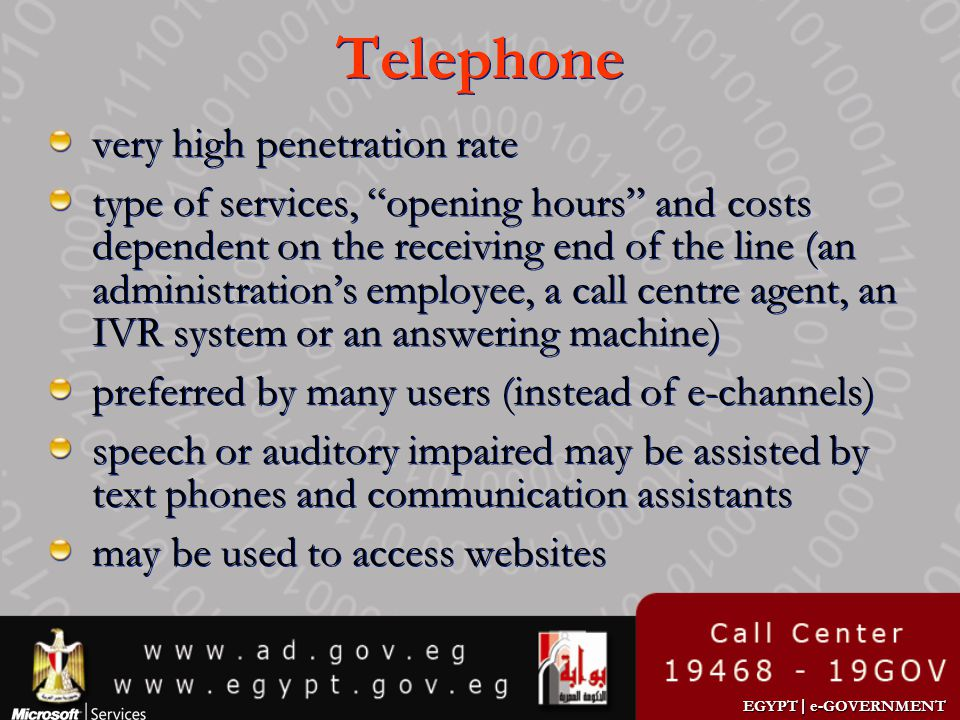 Telephone very high penetration rate