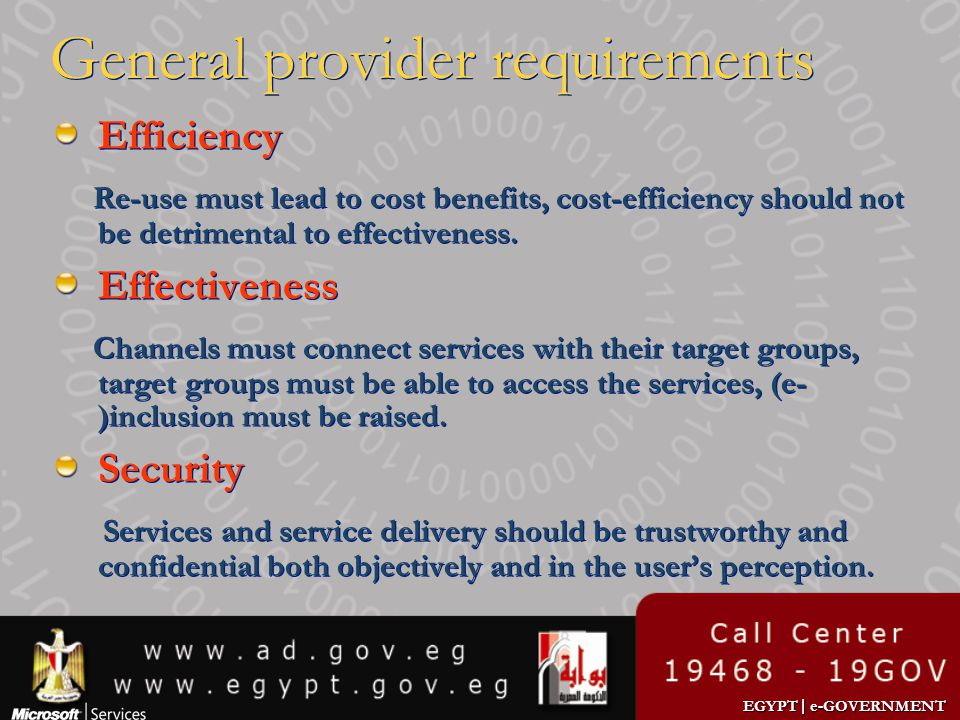 General provider requirements