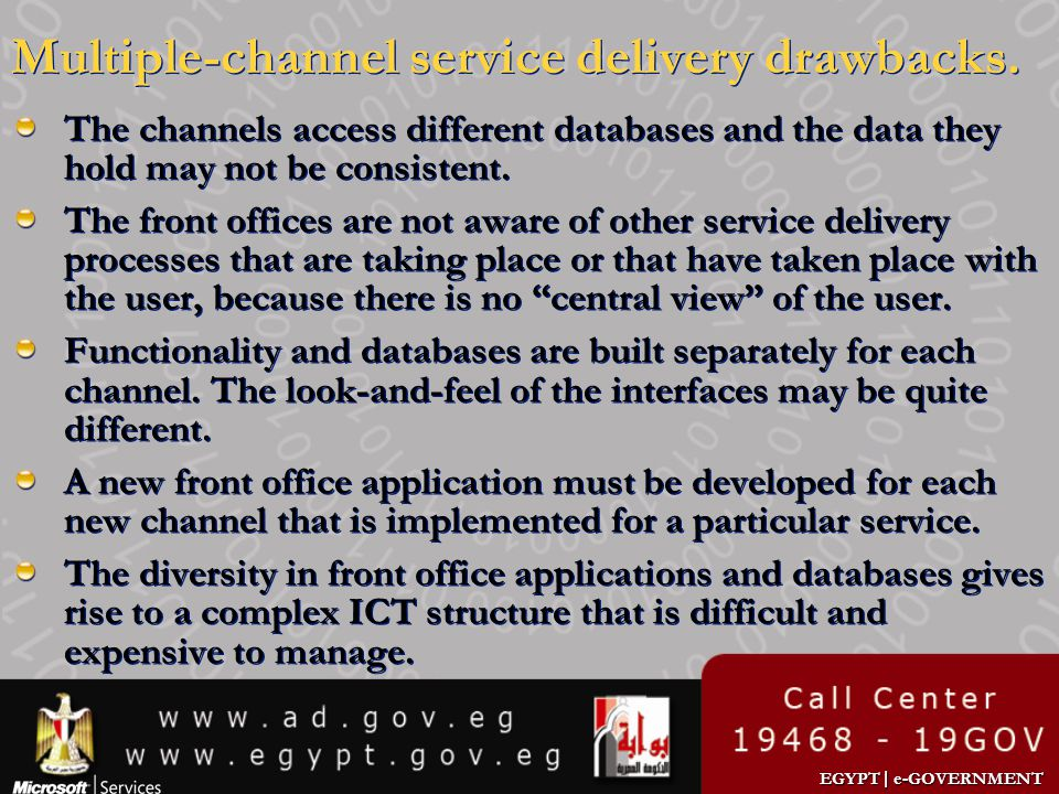 Multiple-channel service delivery drawbacks.