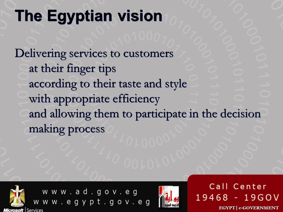 The Egyptian vision Delivering services to customers