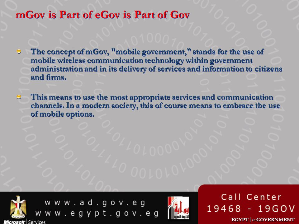 mGov is Part of eGov is Part of Gov