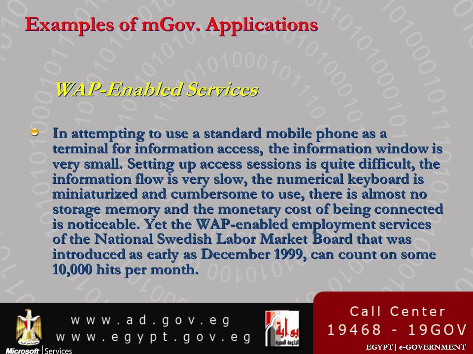 Examples of mGov. Applications