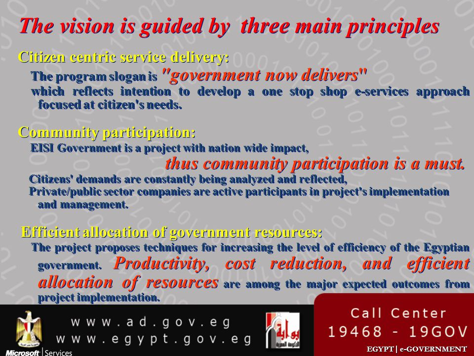 The vision is guided by three main principles