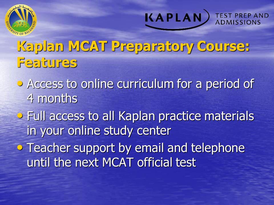 Kaplan MCAT Preparatory Course: Features