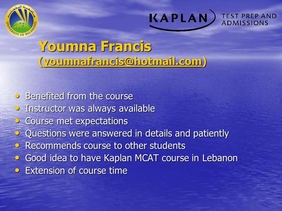 Youmna Francis (youmnafrancis@hotmail.com)