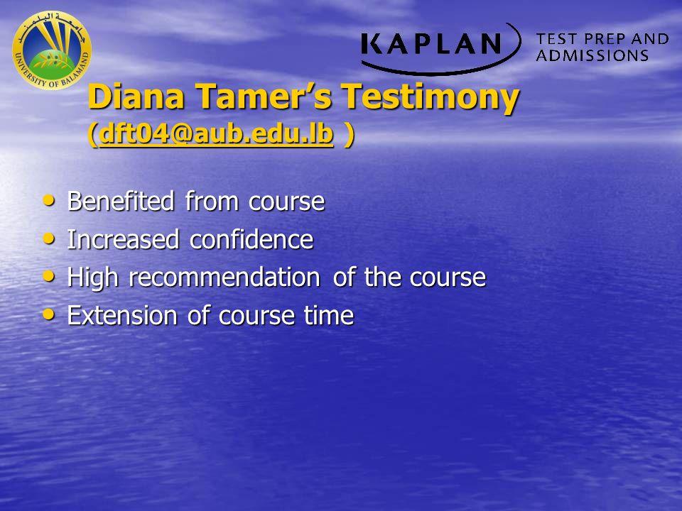 Diana Tamer's Testimony (dft04@aub.edu.lb )