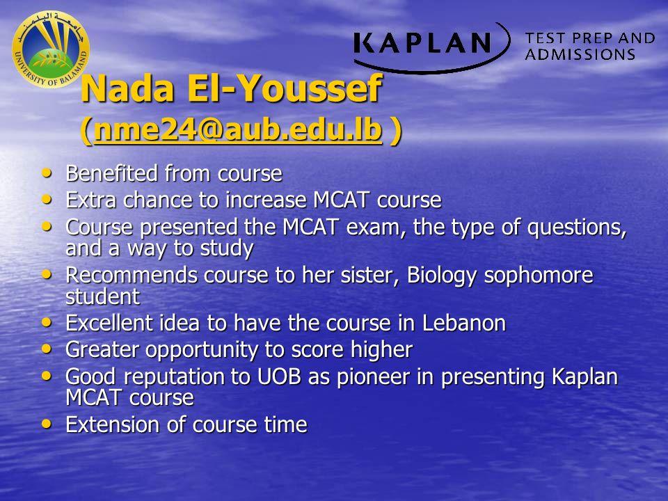 Nada El-Youssef (nme24@aub.edu.lb )