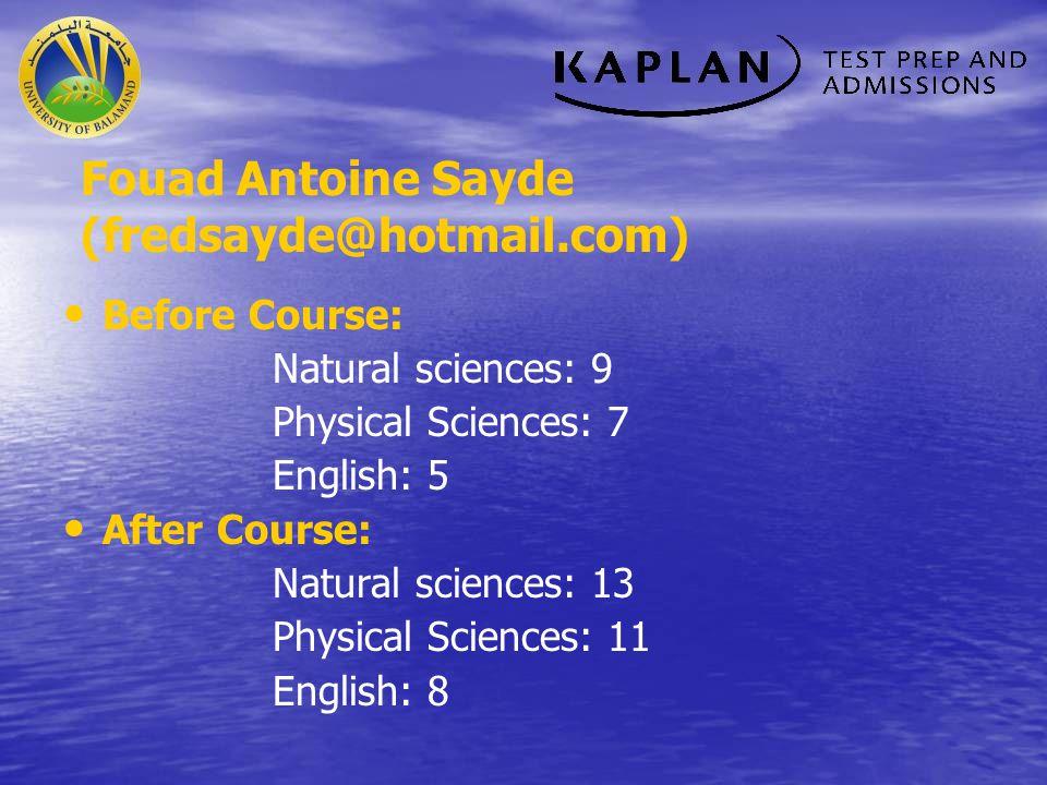 Fouad Antoine Sayde (fredsayde@hotmail.com)