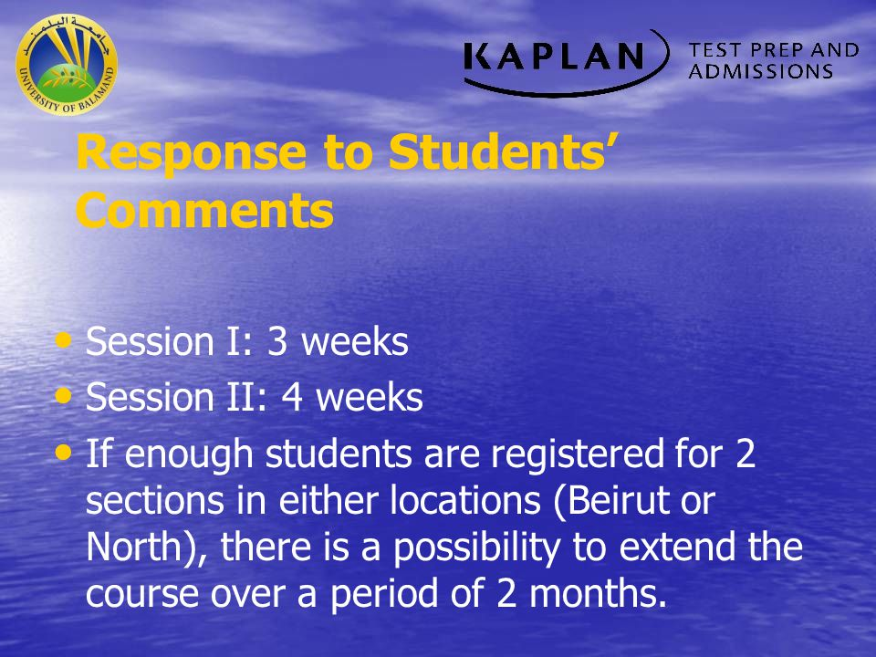 Response to Students' Comments