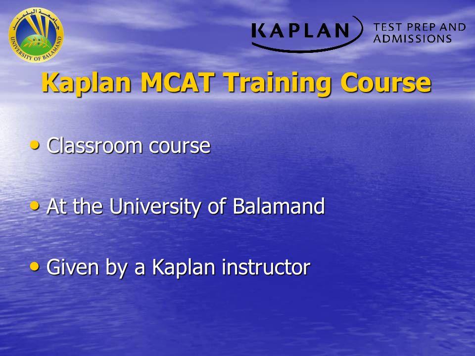 Kaplan MCAT Training Course
