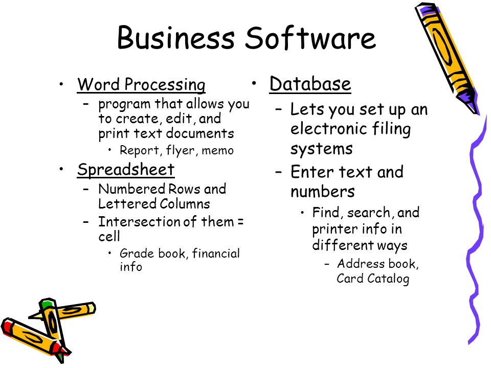 Business Software Database Word Processing