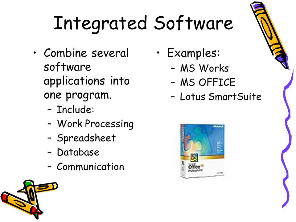 Integrated Software Combine several software applications into one program. Include: Work Processing.