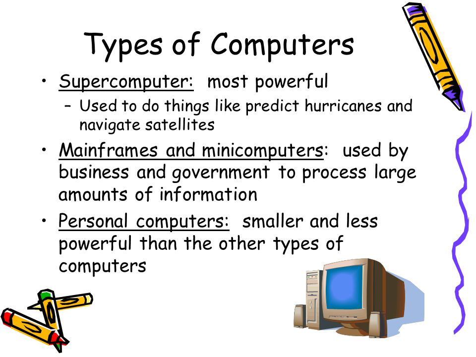 Types of Computers Supercomputer: most powerful