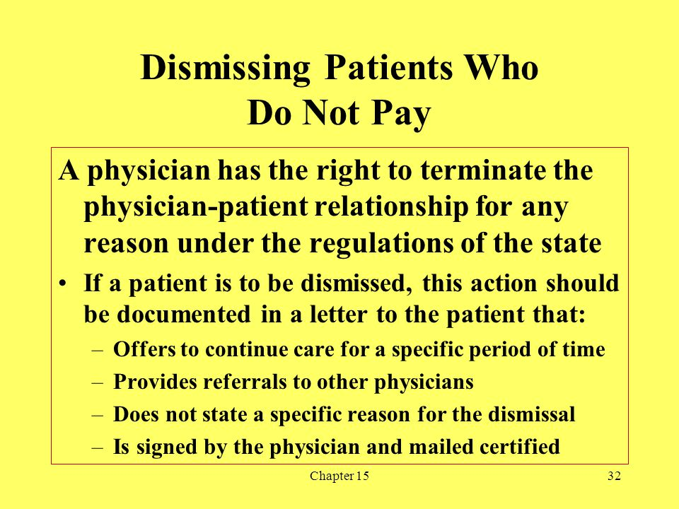 Dismissing Patients Who Do Not Pay