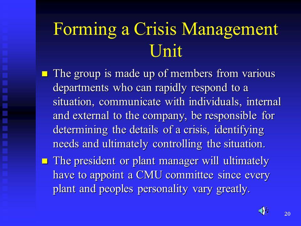 Forming a Crisis Management Unit