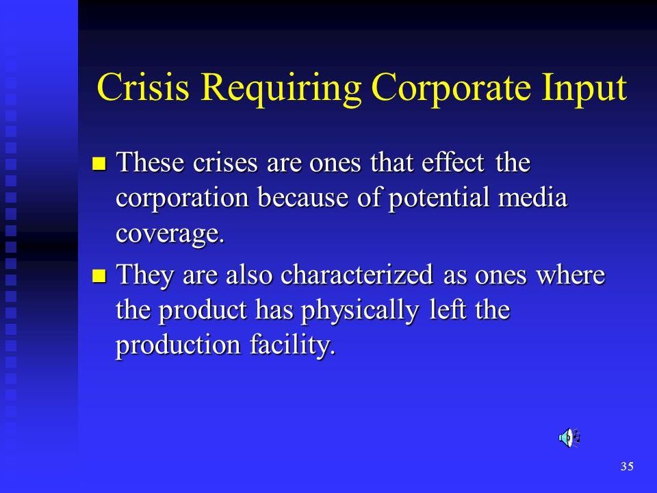 Crisis Requiring Corporate Input