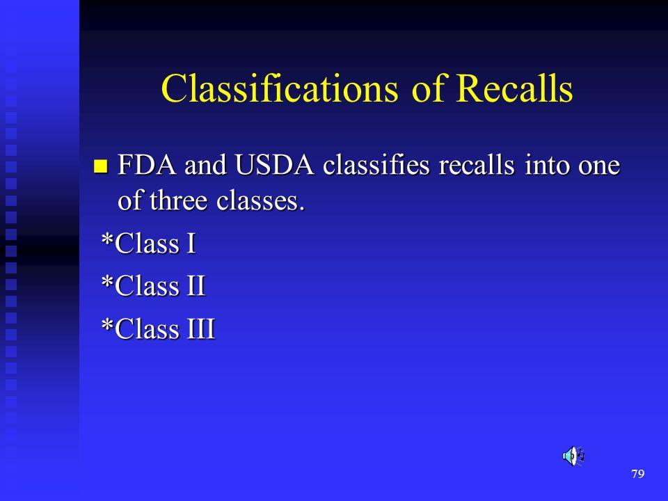 Classifications of Recalls