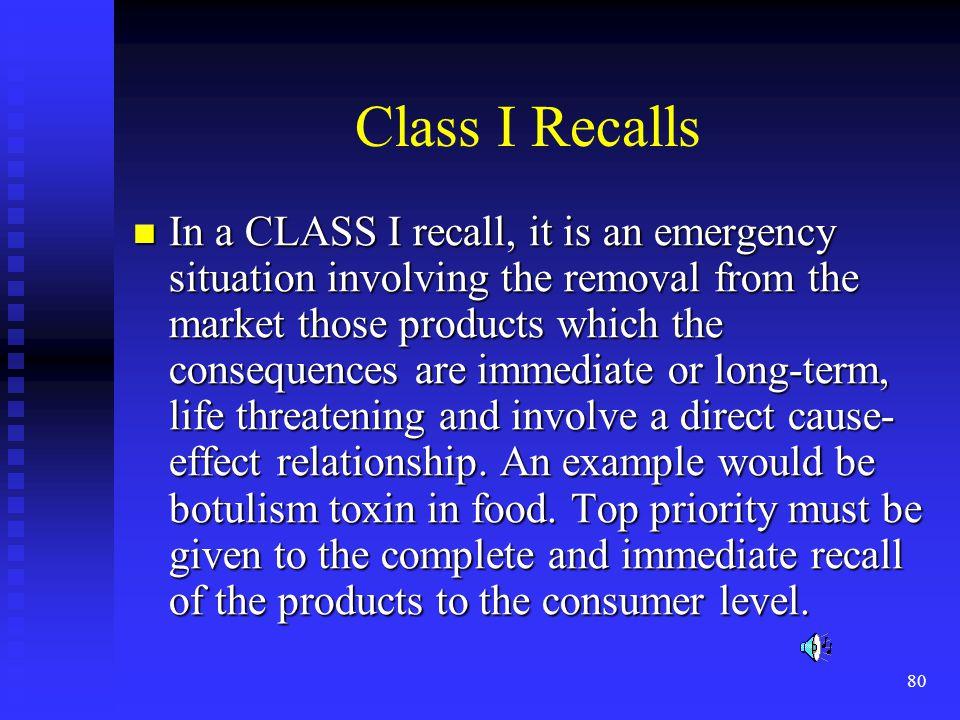 Class I Recalls