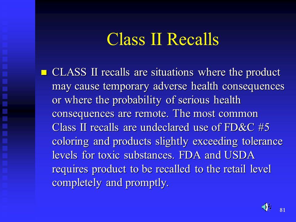 Class II Recalls
