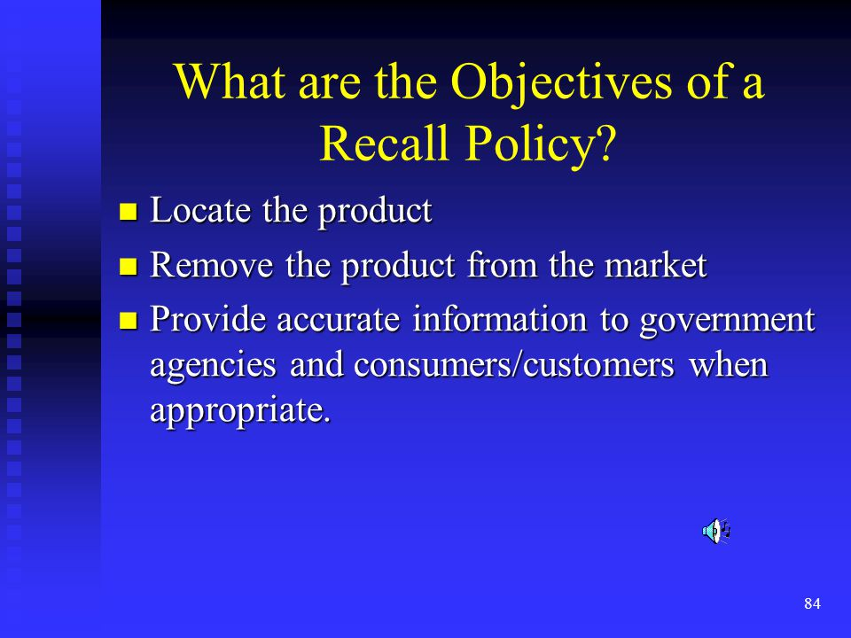 What are the Objectives of a Recall Policy