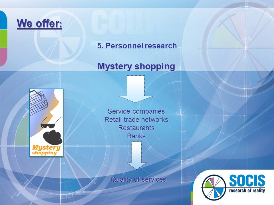 We offer: Mystery shopping 5. Personnel research Service companies