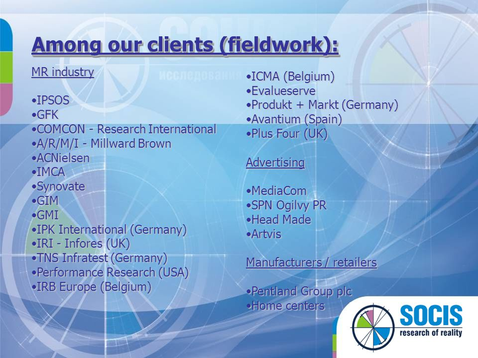 Among our clients (fieldwork):
