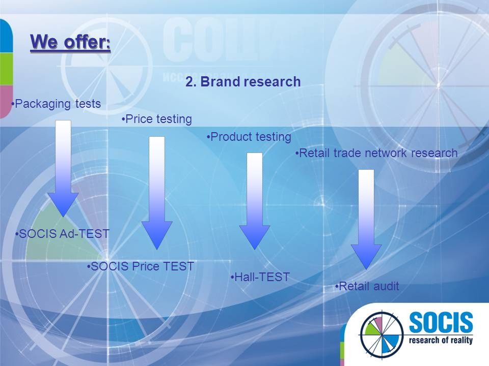 We offer: 2. Brand research Packaging tests Price testing