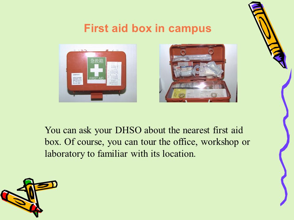 First aid box in campus