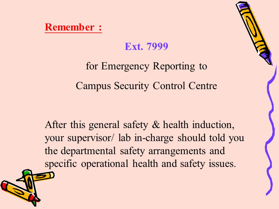 for Emergency Reporting to Campus Security Control Centre