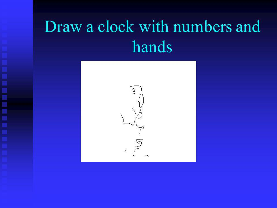 Draw a clock with numbers and hands