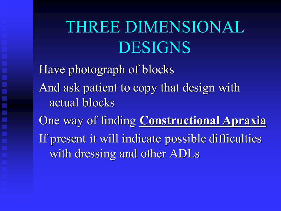 THREE DIMENSIONAL DESIGNS