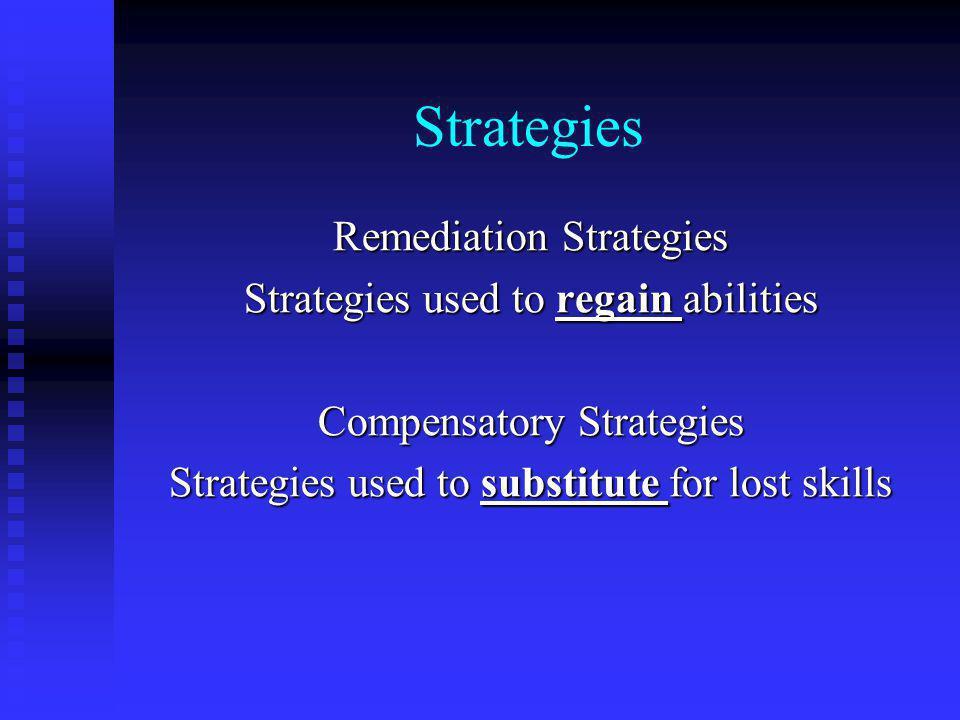 Strategies Remediation Strategies Strategies used to regain abilities