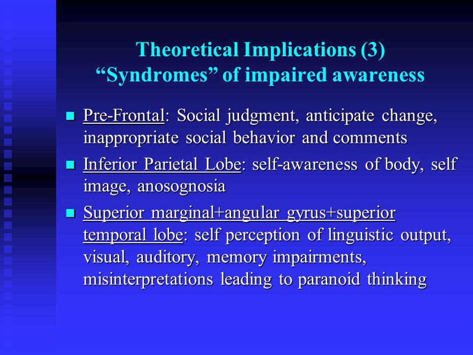 Theoretical Implications (3) Syndromes of impaired awareness
