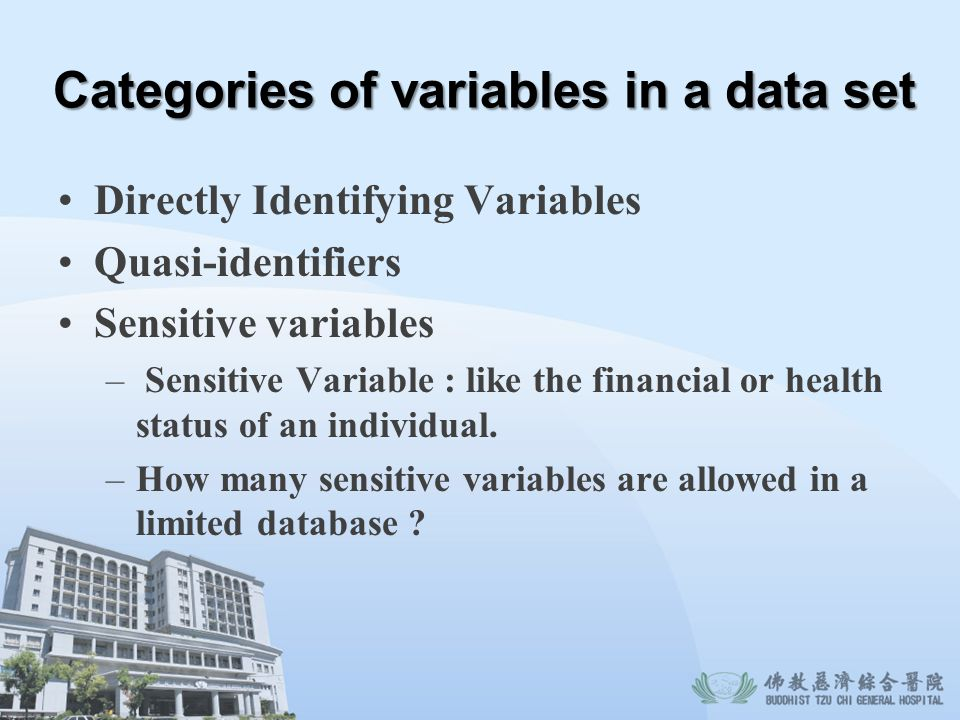 Categories of variables in a data set