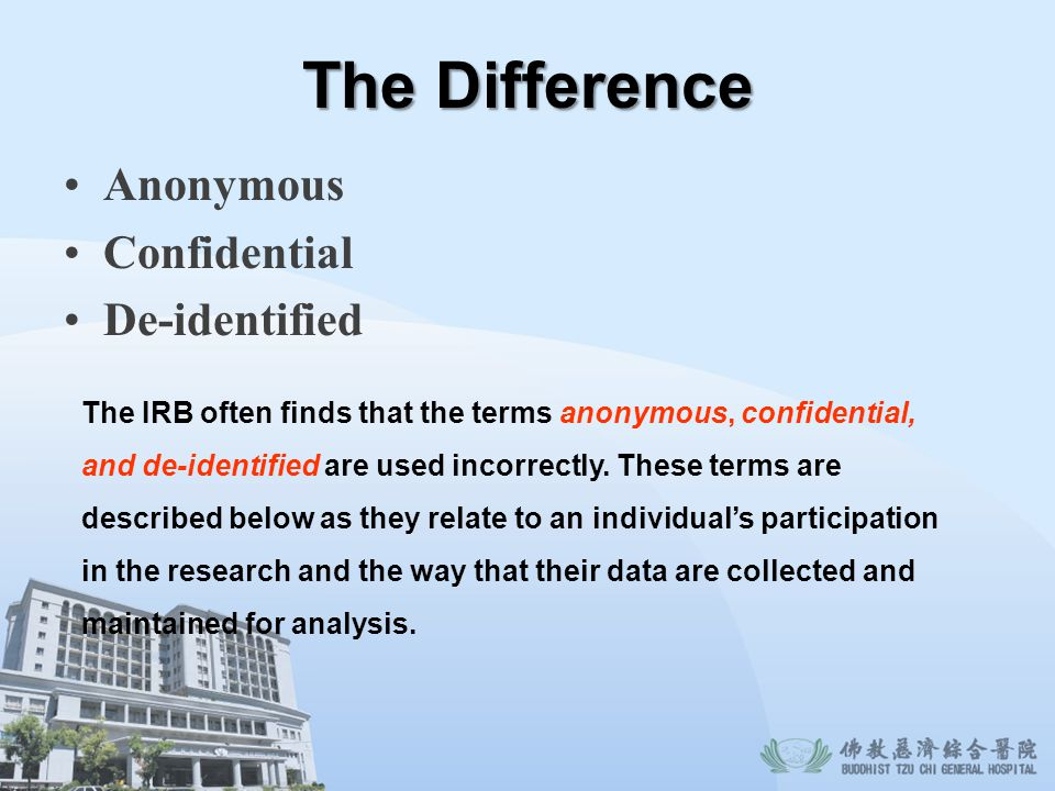 The Difference Anonymous Confidential De-identified