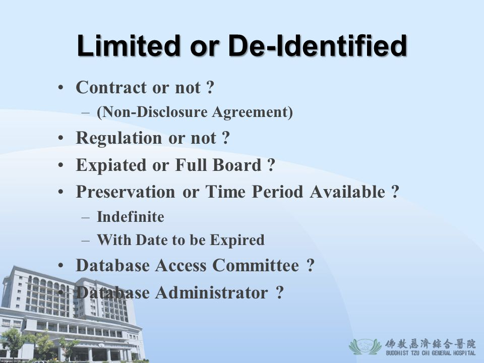 Limited or De-Identified